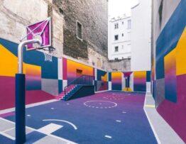 Murales artísticos en campos deportivos
